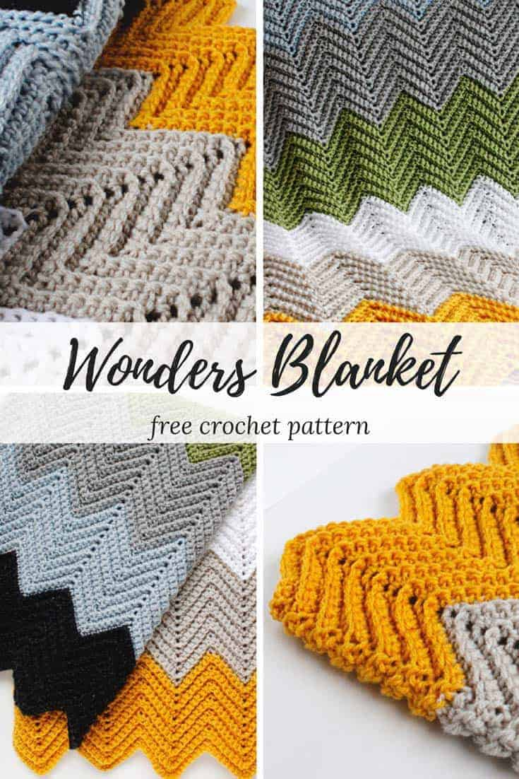 Wonders Chevron Crochet Blanket Pattern - Make this simple and fun chevron design with this absolutely FREE crochet pattern! Find this and many more at www.rescuedpawdesigns.com! Happy Crocheting! <3