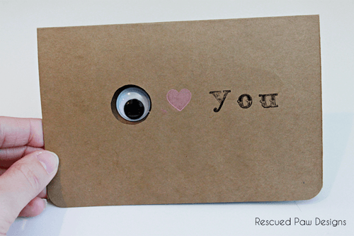 Valentine's Day Card - Eye Love You using googly eyes from Rescued Paw Designs