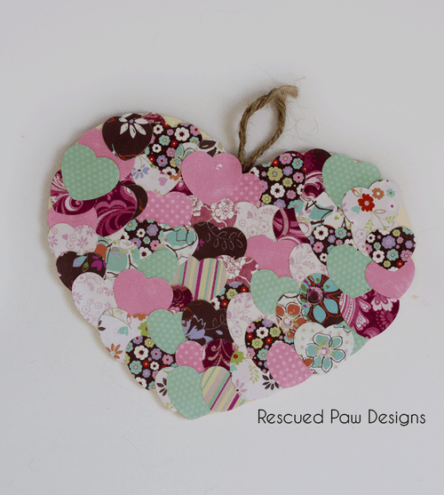 Paper and Wood Heart Decoration