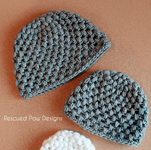 Crochet puff stitch hat pattern by Rescued Paw Designs www.rescuedpawdesigns.com