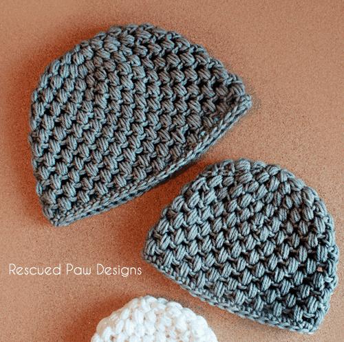 Crochet puff stitch hat pattern by Rescued Paw Designs www.rescuedpawdesigns.com