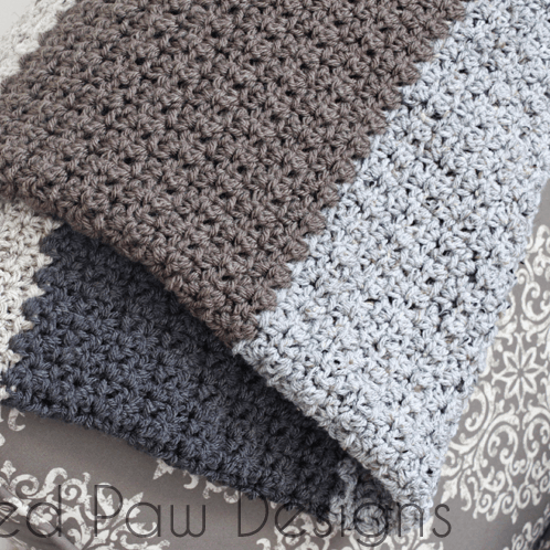 Premium Crochet Pattern Natural Striped Blanket ⋆ Rescued