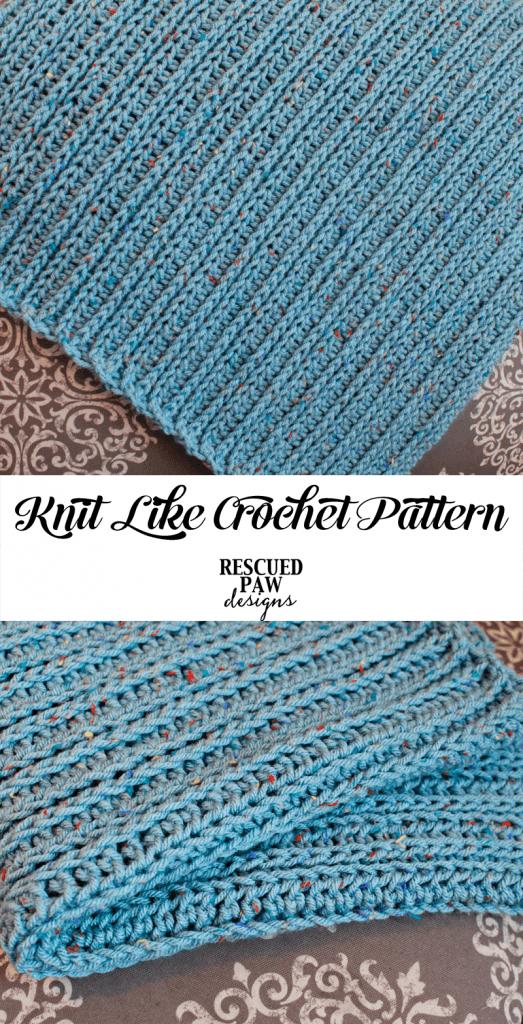 Knit Like Crochet Blanket Pattern from Rescued Paw Designs