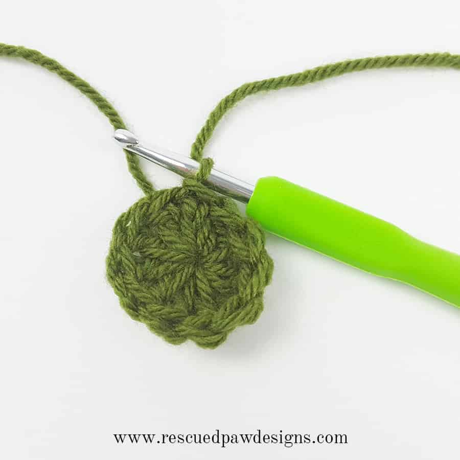 round 1 of Swirl Beanie Hat Crochet Pattern by Rescued Paw Designs