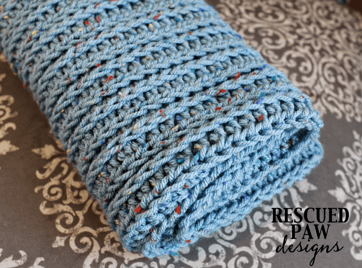 Knit Like Crochet Blanket Pattern from Rescued Paw Designs