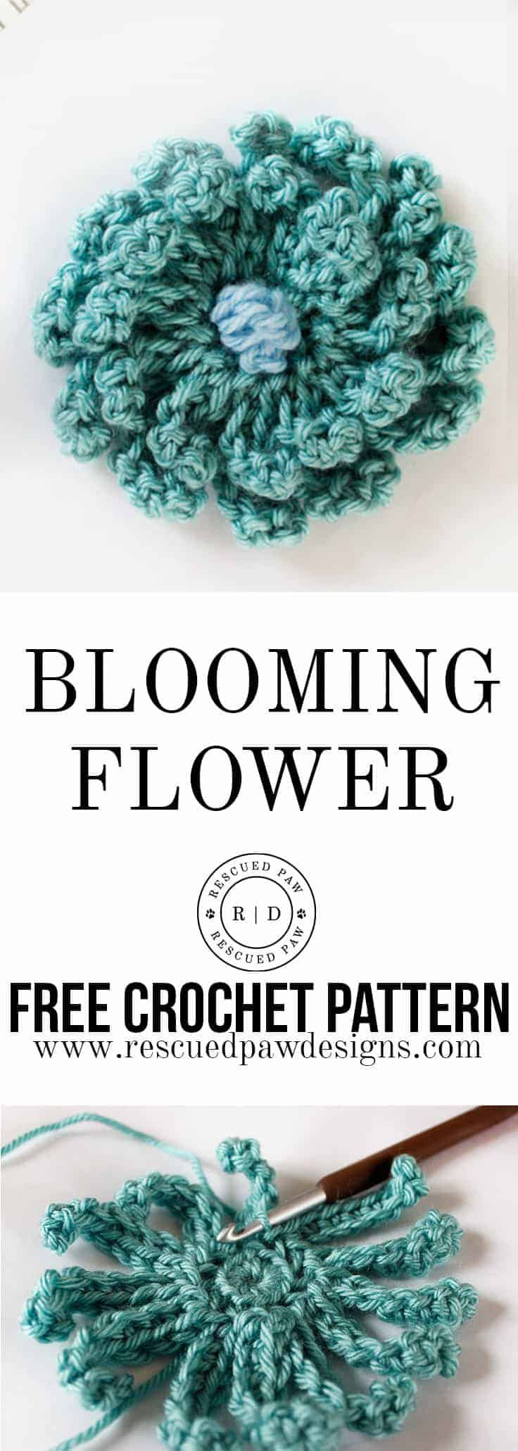 Blooming Flower Crochet Pattern by Rescued Paw Designs