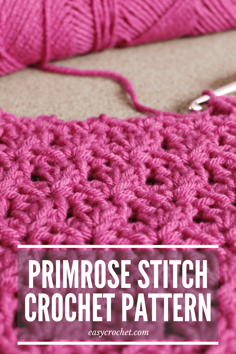 The primrose stitch, a modification on the shell stitch, is perfect for beginner crocheters who want to get learn an intermediate-stitch. It adds a beautiful texture to any crochet project. via @easycrochetcom