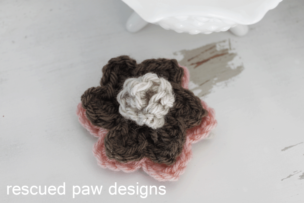 Double Layer Rosette Flower Crochet Pattern - Rescued Paw Designs