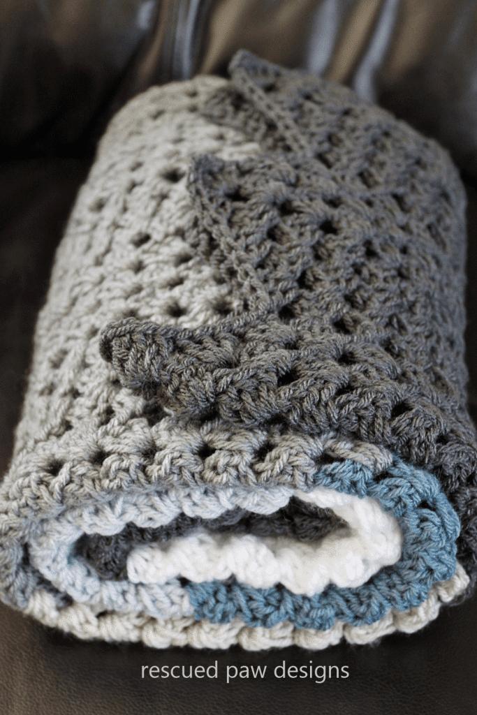 Ripple Blanket Crochet Pattern Rescued Paw Designs Crochet