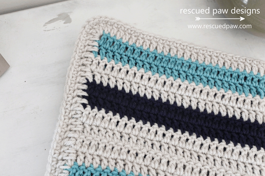 Simple Striped Crochet Blanket Pattern up close view by Rescued Paw Designs