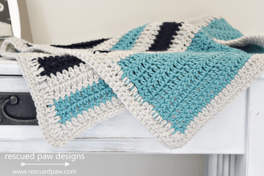 Crochet Blanket Pattern with Stripes