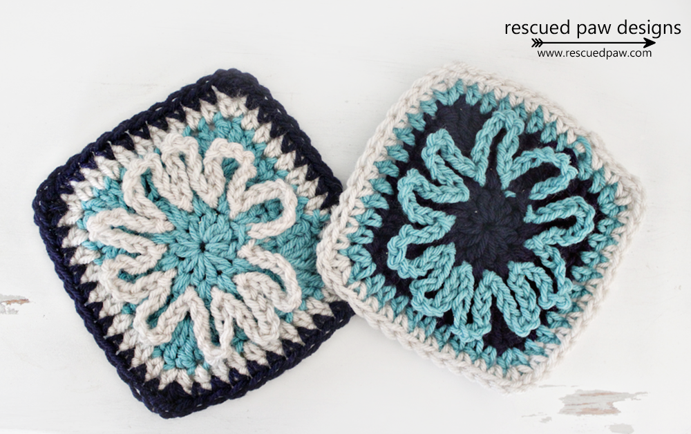 Free Blooming Flower Crochet Square Pattern - Rescued Paw Designs