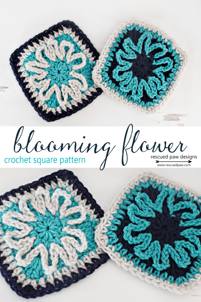I really am excited to finally be able share this free crochet flower square pattern with you all! This fun and simple crochet square works up in little to no time and can be sewed together to create a beautiful crochet throw! Read on down to learn how to crochet flower square today! Blooming Flower Square