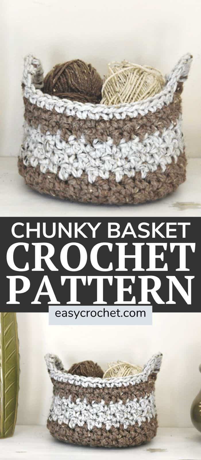 Free Crochet Basket Pattern using Chunky Yarn! Great project for newer crocheters who want to try something a bit challenging! via @easycrochetcom
