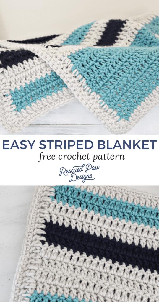 view of the easy stripe crochet blanket pattern