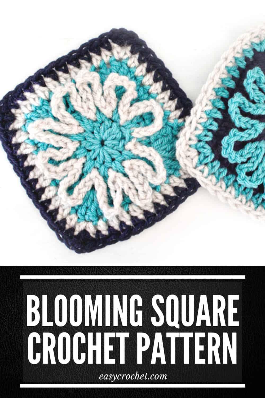 Blooming Flower Crochet Square Pattern for Blankets via @easycrochetcom