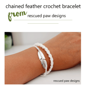 Feather Crochet Bracelet Pattern from Rescued Paw Designs.com