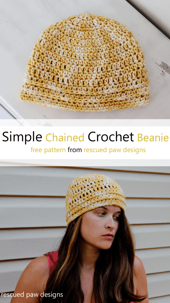 Simple Chained Crochet Beanie Pattern from Rescued Paw Designs