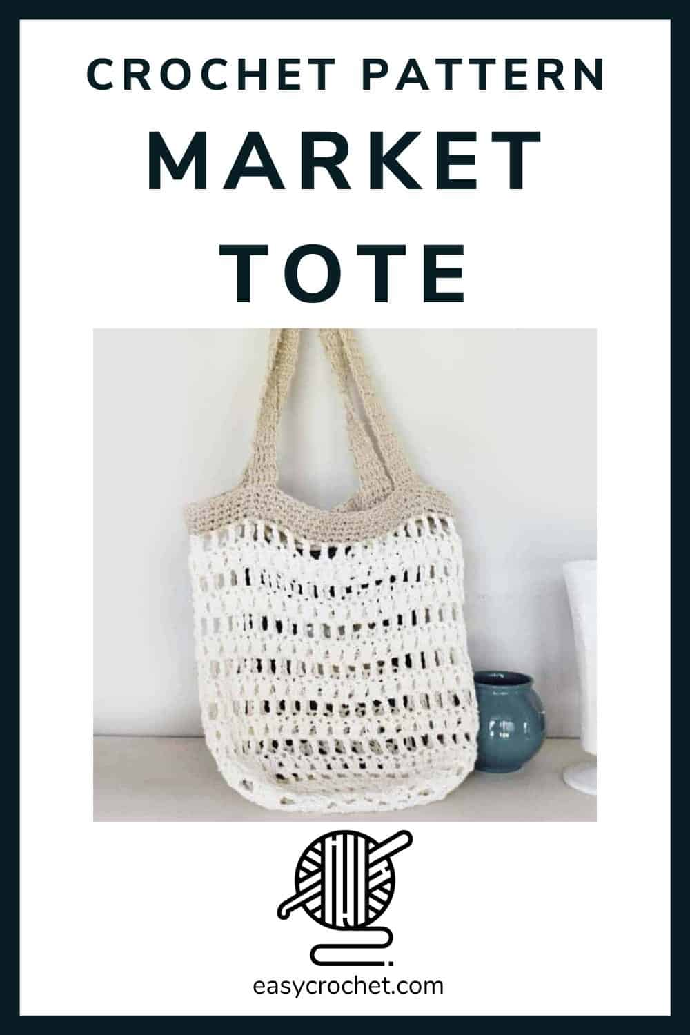 Beginner Crochet Market Tote Bag via @easycrochetcom