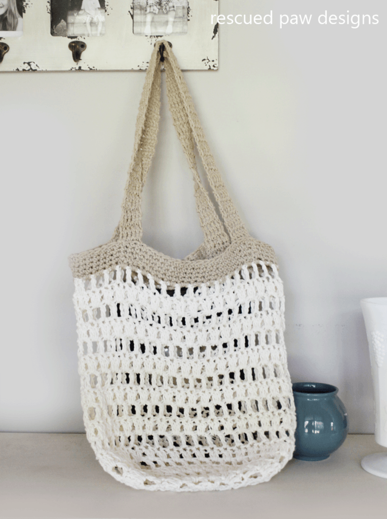 Free Crochet Market Bag Pattern : Market Tote Bag Crochet Pattern - Rescued Paw Designs