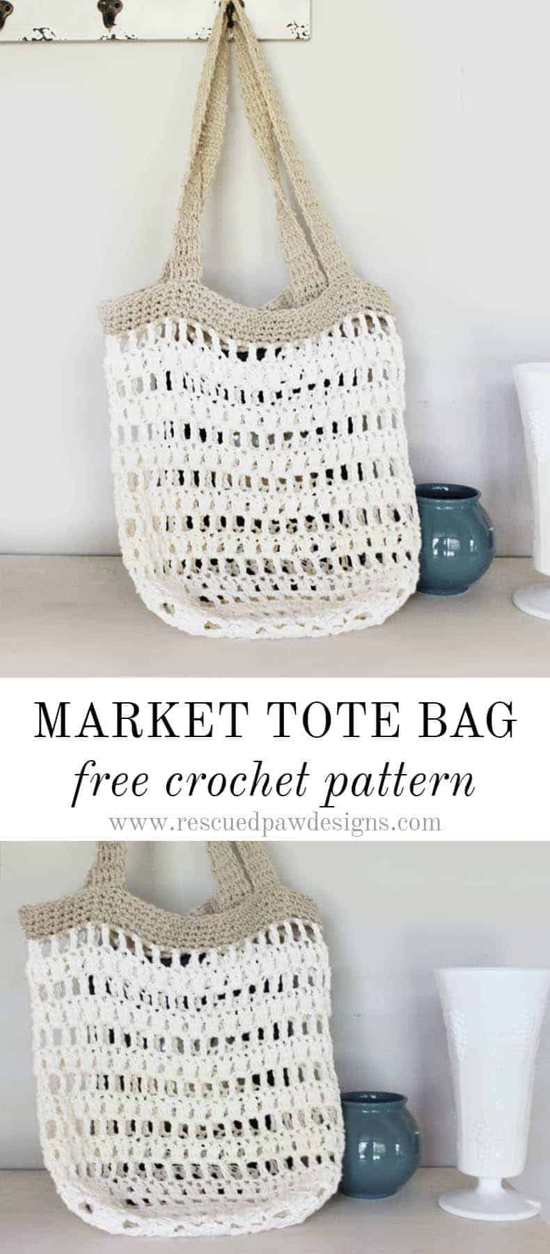 Market Tote Bag Crochet Pattern - Free Crochet Pattern from Rescued Paw Designs - Click to Make now or Pin and Save for Later!
