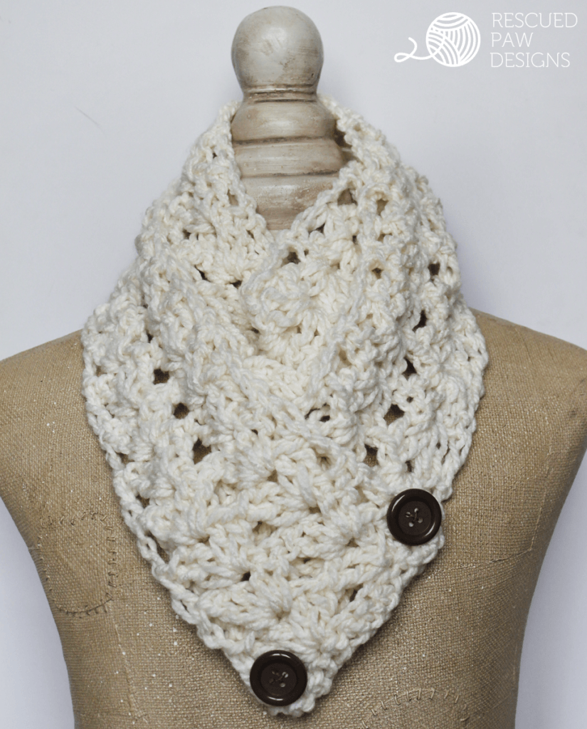 Crochet Scarf Pattern With Button : The ?Victoria? Button Crochet Scarf Pattern ? Rescued Paw ...
