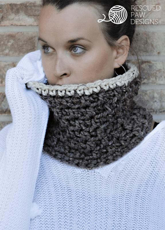 Free Chunky Crochet Cowl Pattern Rescued Paw Designs Crochet