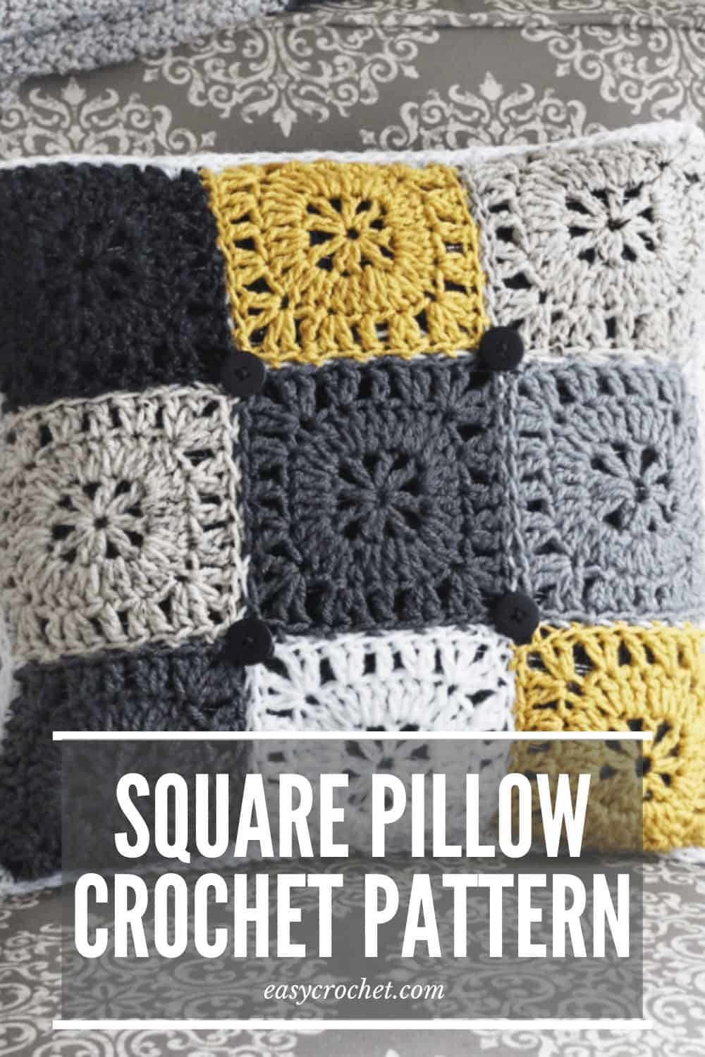 Square Pillow Crochet Pattern by Easy Crochet via @easycrochetcom