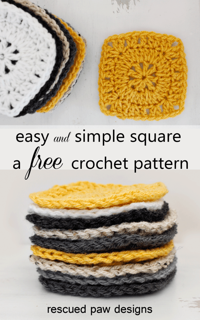 Free Crochet Pattern - Simple Square by Rescued Paw Designs - If you love to crochet up quick projects and need to use up some scrap yarn, then these crochet squares are for you!  While this pattern isn't a granny crochet square this still works up just as simple!can be used to make a ton of different projects like a crochet pillow, blanket and much more! Read on down to learn how to crochet a square today!