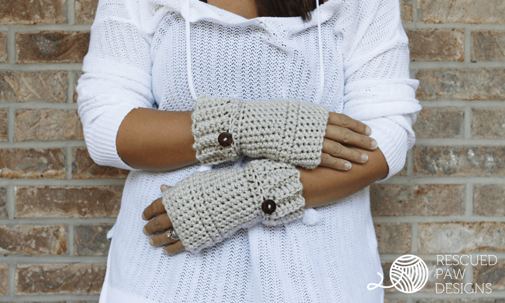 Crochet Gloves Hand Warmer Pattern || FREE PATTERN || Rescued Paw Designs using Lion Brand Yarn.