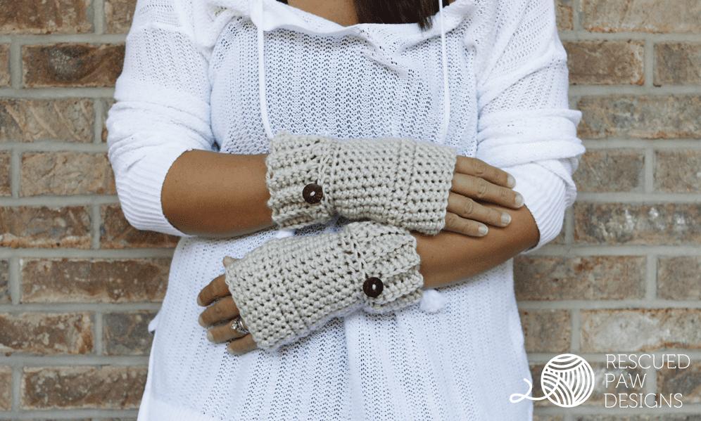 Crochet Gloves Hand Warmer Pattern    FREE PATTERN    Rescued Paw Designs using Lion Brand Yarn.