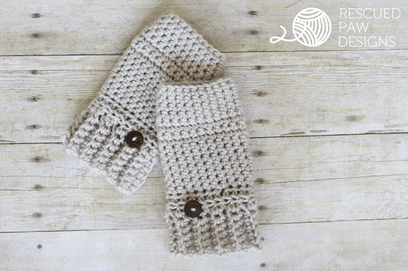 Crochet Hand Warmers Pattern || FREE PATTERN || Rescued Paw Designs using Lion Brand Yarn.