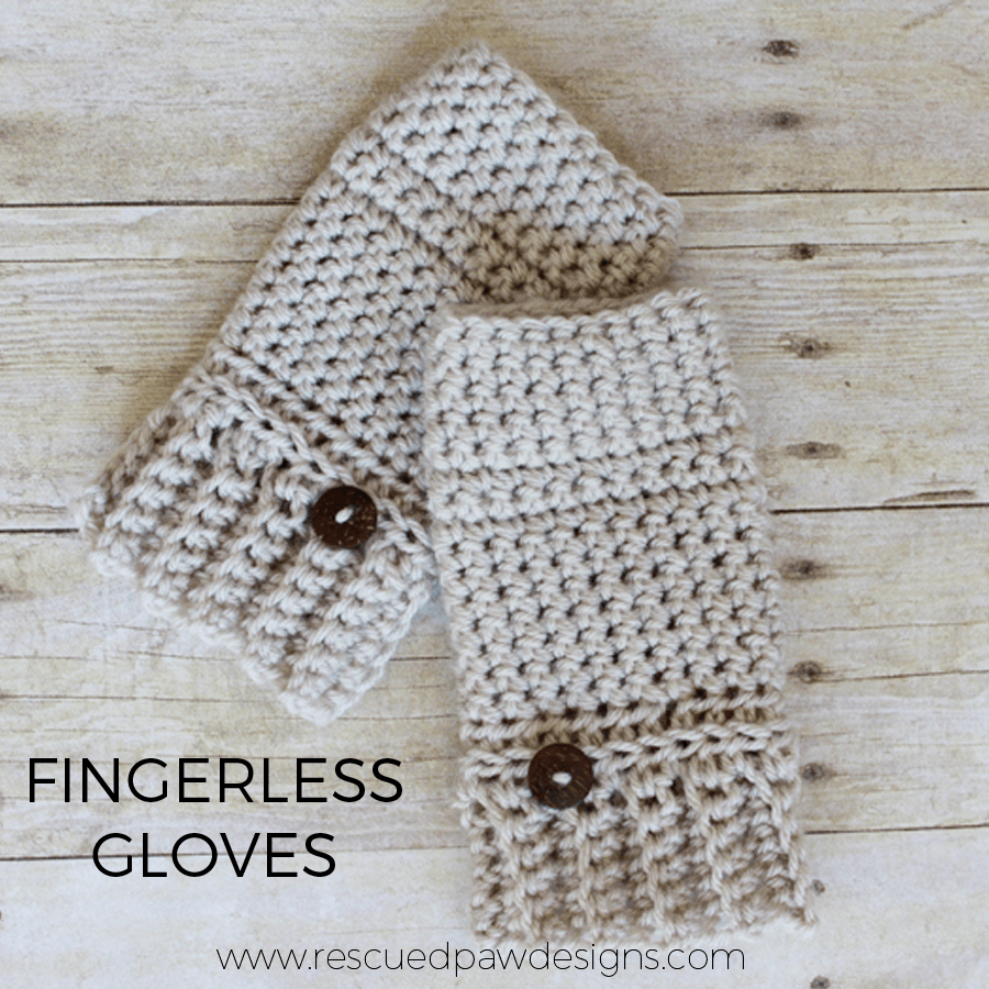 Fingerless Crochet Gloves Hand Warmer Crochet Pattern by Rescued Paw Designs. www.rescuedpawdesigns.com