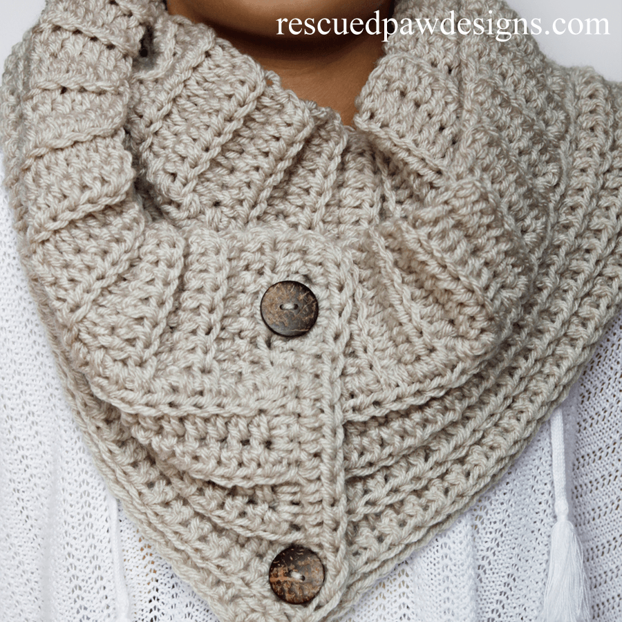 Free Crochet Pattern Button Scarf : Rescued Paw Designs Crochet by Krista Cagle ? Simple Free ...
