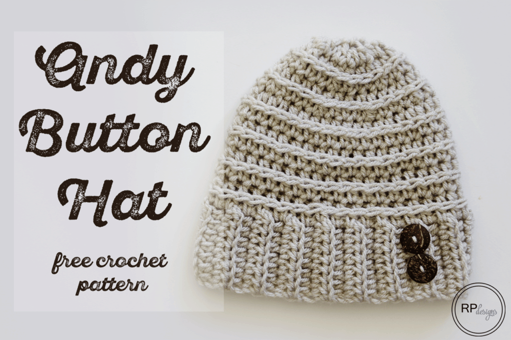Andy Button Hat Crochet Pattern by Rescued Paw Designs