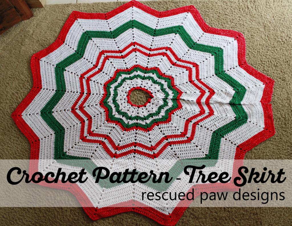 Christmas Tree Skirt Crochet Pattern ⋆ Rescued Paw Designs Crochet