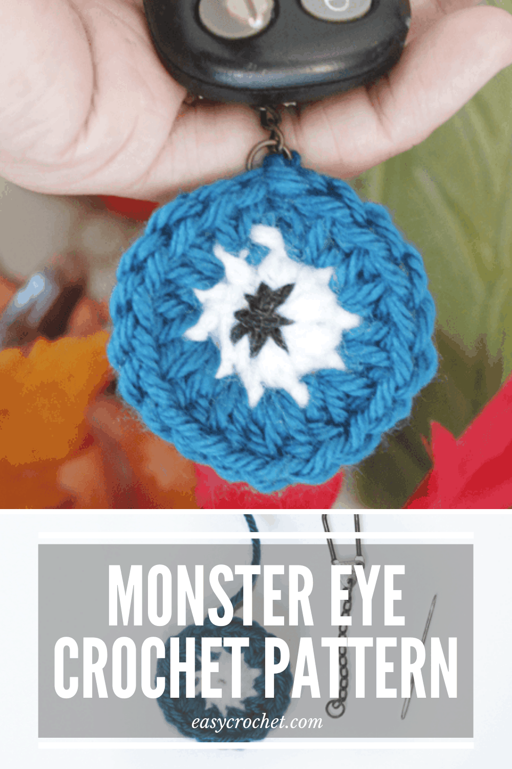 Monster Eye Keychain Crochet Pattern that is perfect for Halloween! Find the free crochet pattern at easycrochet.com via @easycrochetcom