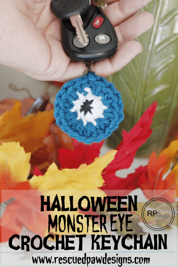 Halloween Monster Eye Crochet Key Chain - Free Pattern by Rescued Paw Designs