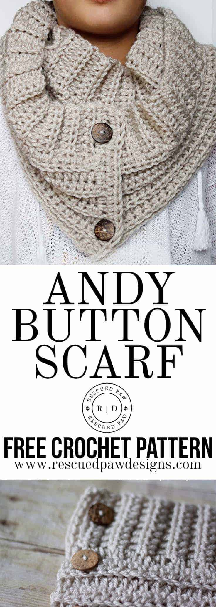button crochet scarf pattern
