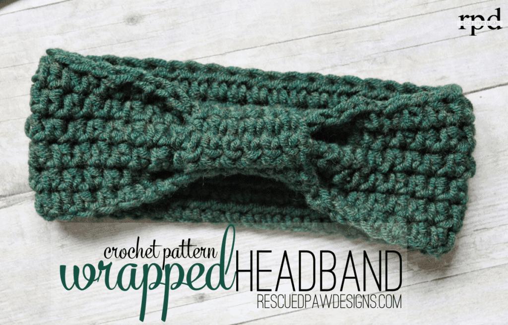 Wrapped headband crochet pattern by Rescued Paw Designs Crochet