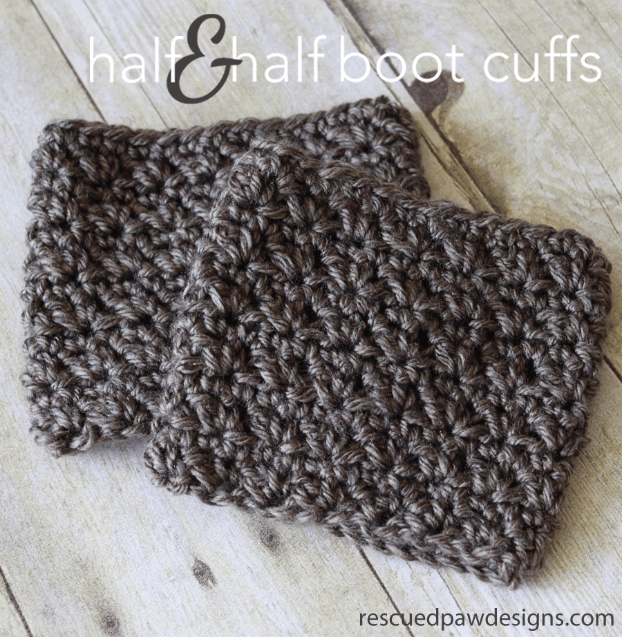 Half & Half Boot Cuffs - Crochet Pattern ⋆ Rescued Paw Designs Crochet