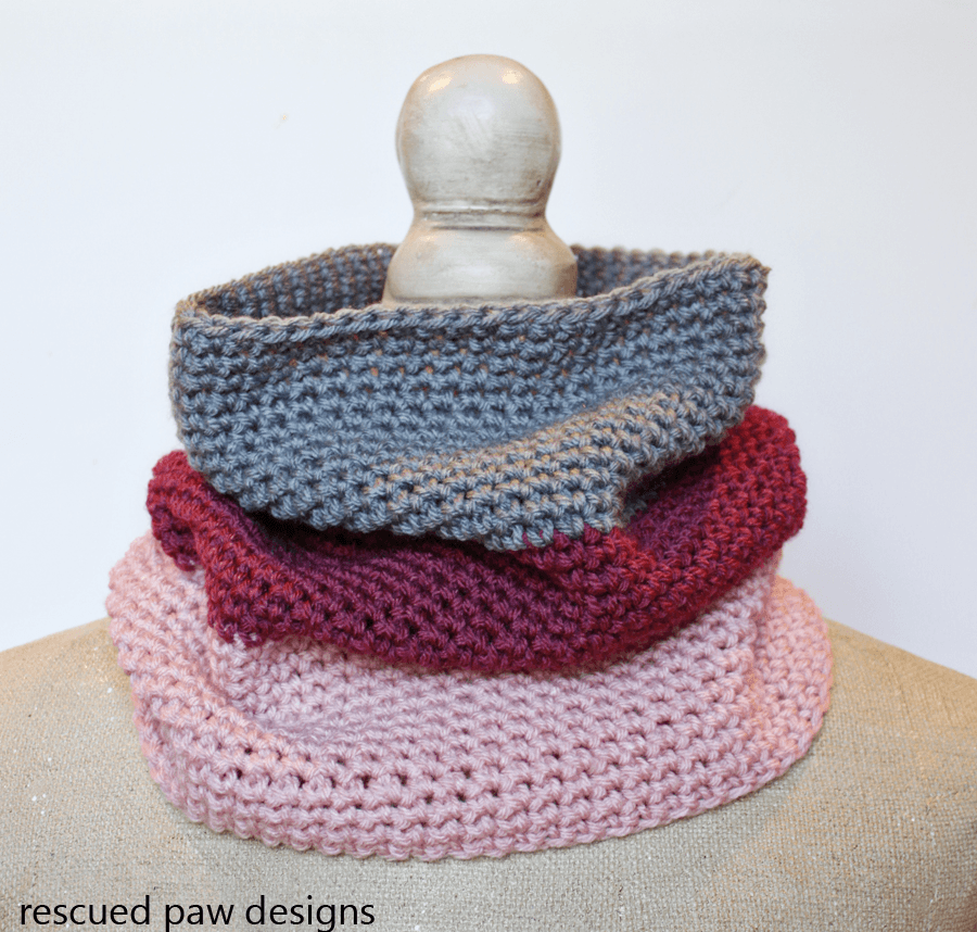 3 Color Cowl Crochet Pattern