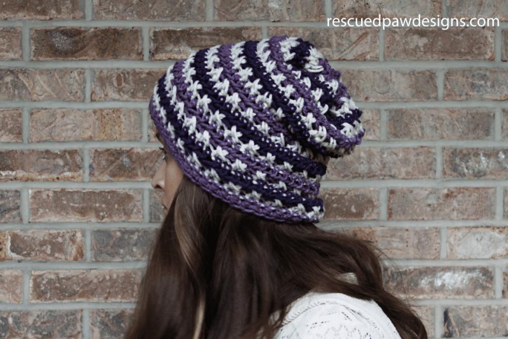 crochet slouch hat pattern that is purple