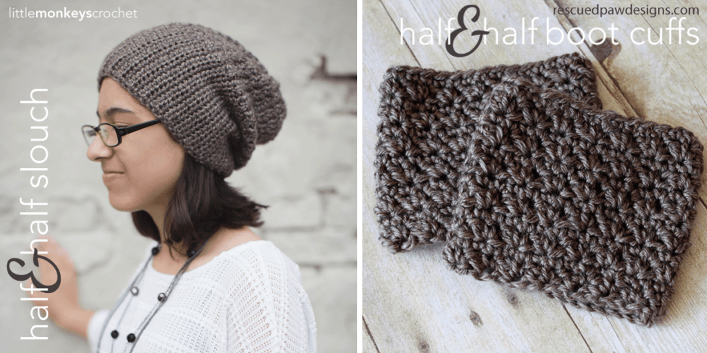 Half & Half Slouch & Boot Cuffs Crochet Pattern from Little Monkeys Crochet & Rescued Paw Designs