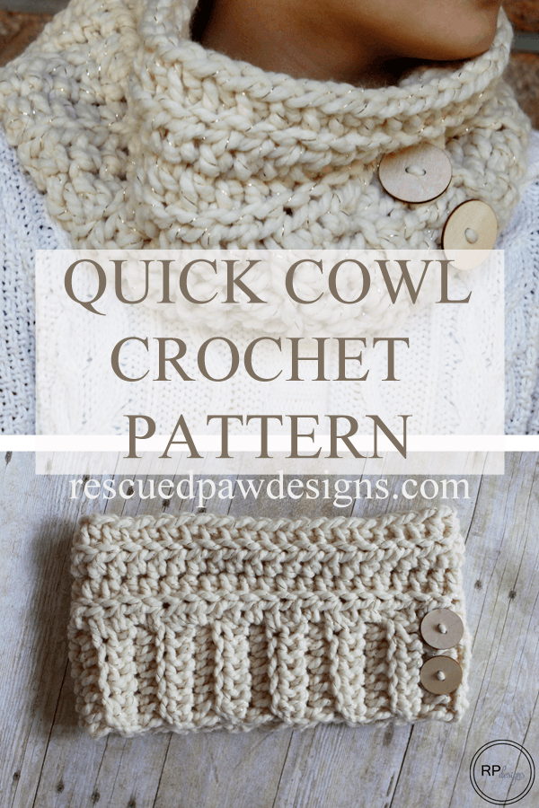 Chunky Andy Button Cowl - Free Crochet Pattern - Rescued Paw Designs - Chunky Cowl Pattern