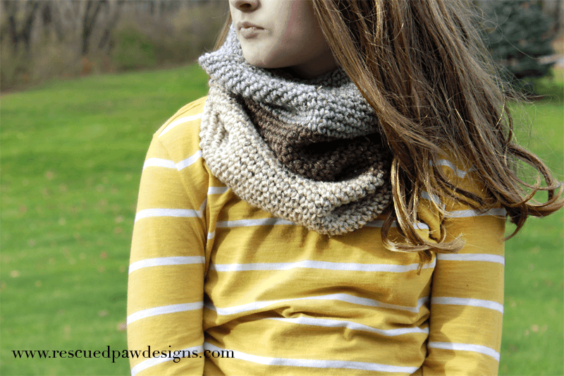 The Leigh Color Blocked Cowl - Free Crochet Pattern by Rescued Paw Designs #lionbrandyarn