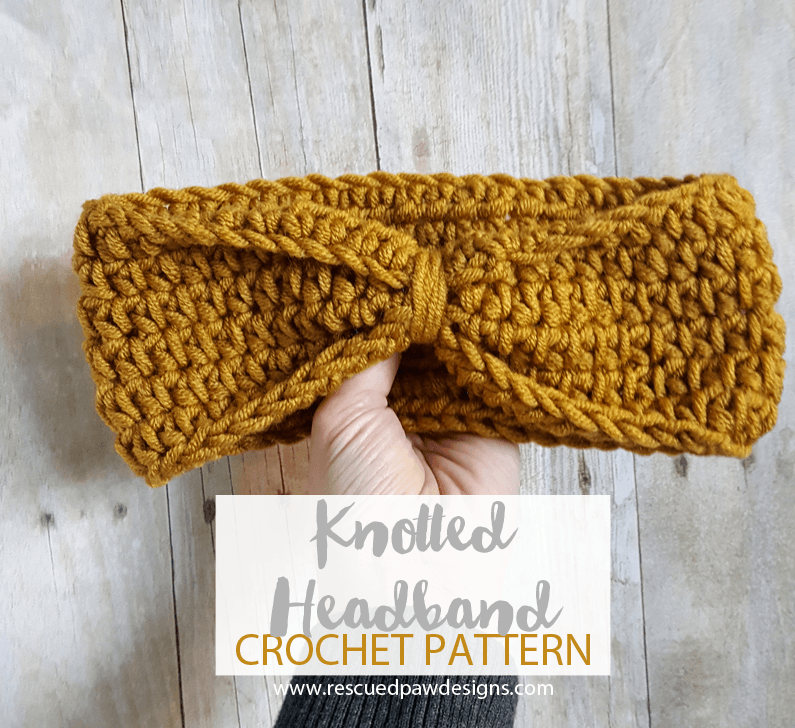 Knotted Headband Crochet Pattern by Rescued Paw Designs - Free Crochet Ear Warmer Pattern by www.rescuedpawdesigns.com