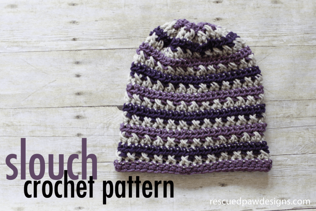 Crochet Slouch Beanie the Sugared Plum Beanie - Free Crochet Pattern by RescuedPawDesigns.com