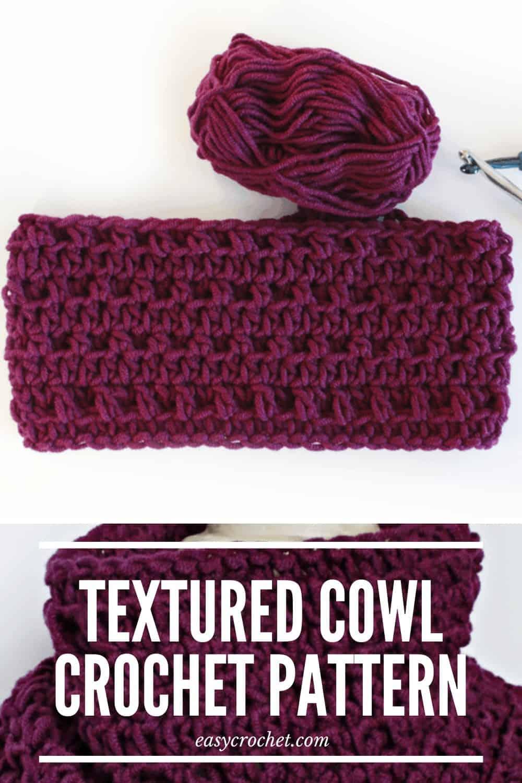 Textured Crochet Cowl Pattern via @easycrochetcom