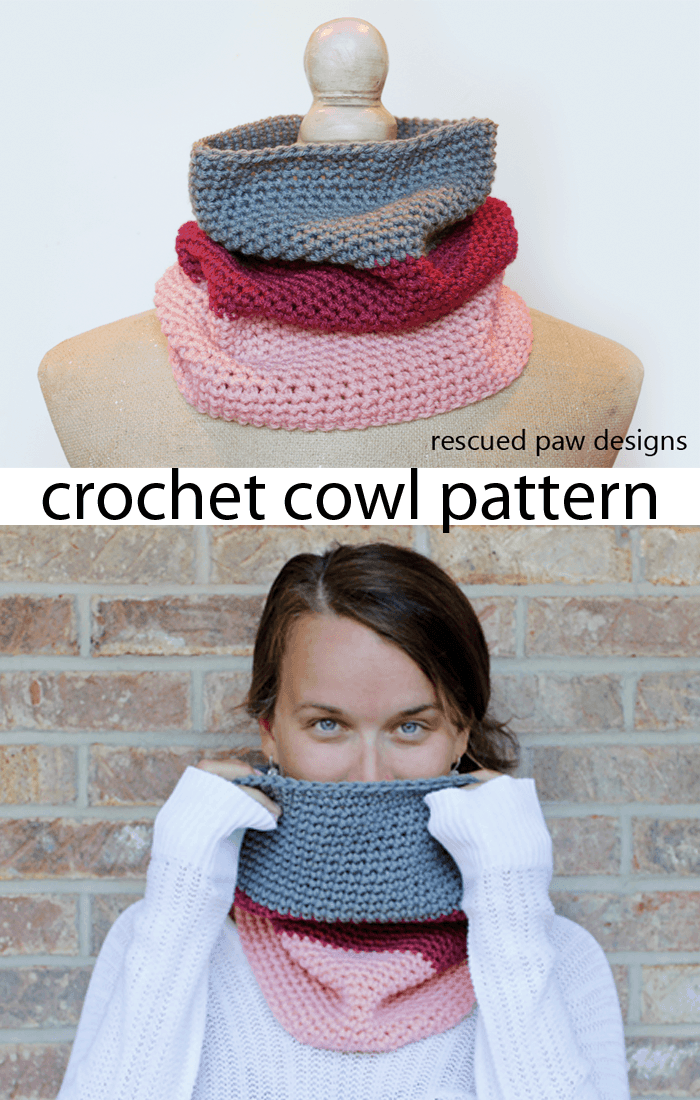 Colorblocked Crochet Cowl Pattern from Rescued Paw Designs
